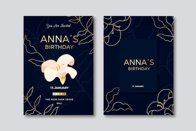 Cartão de aniversário elegante com flor de luxo
