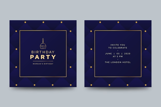 Cartão de aniversário elegante com luzes abstratas