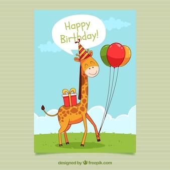 Cartão de aniversário em estilo desenhado à mão