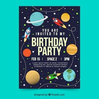 Cartão de aniversário em estilo plano