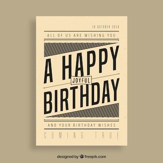 Cartão de aniversário em estilo vintage