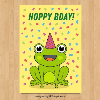 Cartão de aniversário feliz em estilo desenhado a mão