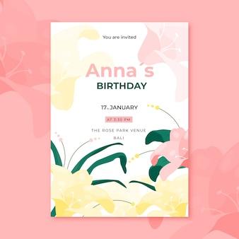Cartão de aniversário floral de florescência do verão