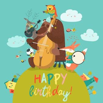 Cartão de aniversário fofo de vetor com animais e música