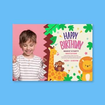 Cartão de aniversário infantil com animais