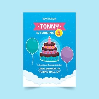 Cartão de aniversário infantil com bolo e balões