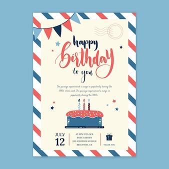 Cartão de aniversário infantil com bolo