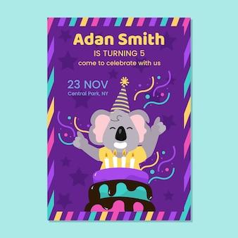 Cartão de aniversário infantil com coala