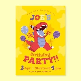Cartão de aniversário infantil com dinossauro