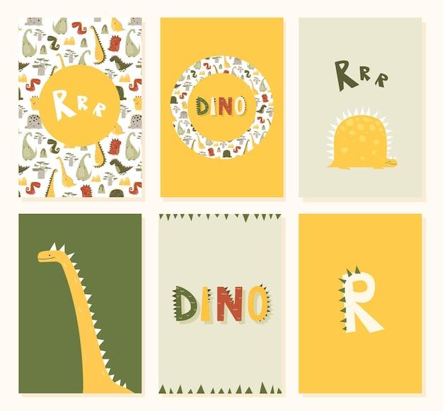 Cartão de aniversário infantil com dinossauros