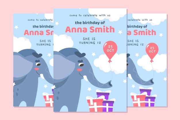 Cartão de aniversário infantil com elefante