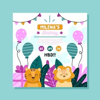 Cartão de aniversário infantil com felinos