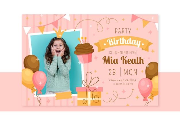 Cartão de aniversário infantil com foto