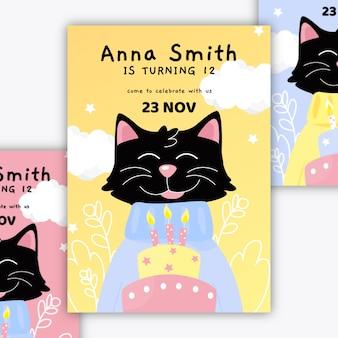 Cartão de aniversário infantil com gatinho preto