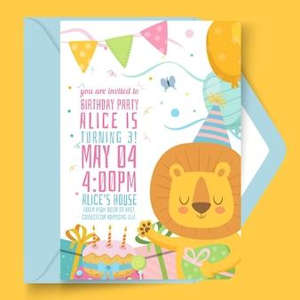 Cartão de aniversário infantil com ilustrações