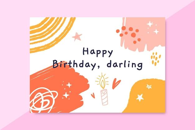 Cartão de aniversário infantil com pintura abstrata