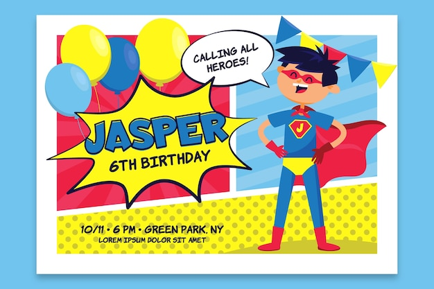 Cartão de aniversário infantil com super-homem