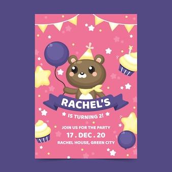 Cartão de aniversário infantil com ursinho de pelúcia