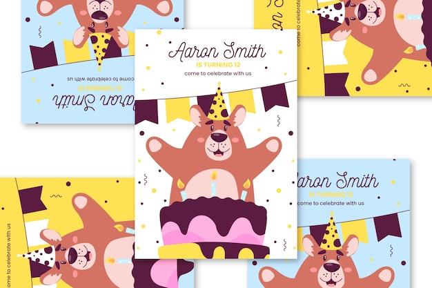 Cartão de aniversário infantil com urso feliz