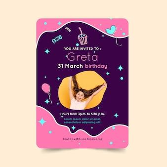 Cartão de aniversário infantil