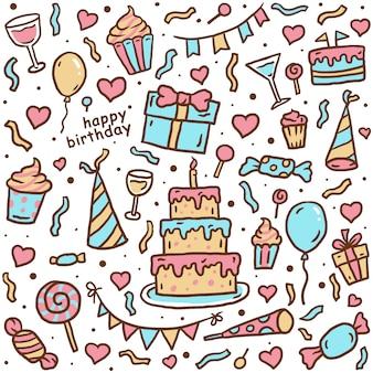 Cartão de aniversário, linha desenhada de mão com cor digital, ilustração vetorial