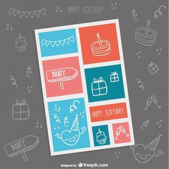 Cartão de aniversário minimalista