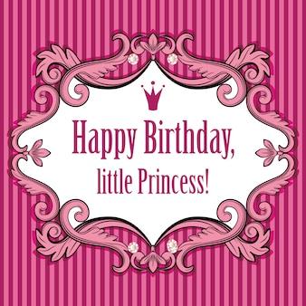 Cartão de aniversário para princesinha