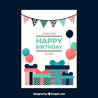 Cartão de aniversário plano com presentes