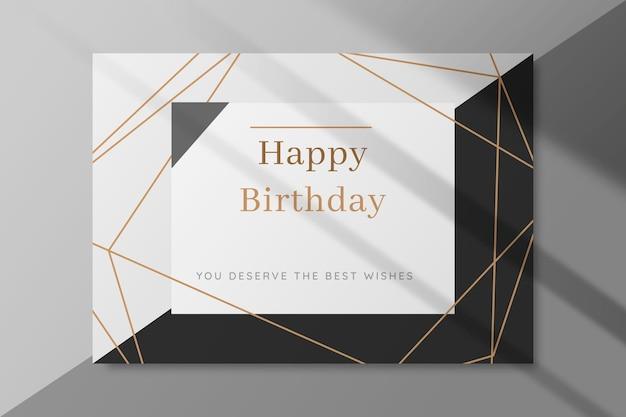 Cartão de aniversário preto e branco