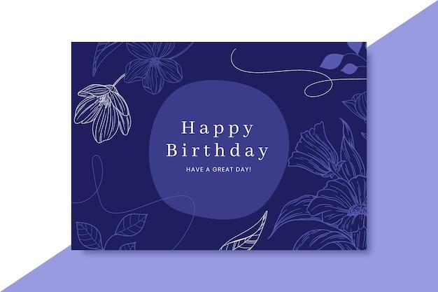 Cartão de aniversário realista desenhado à mão