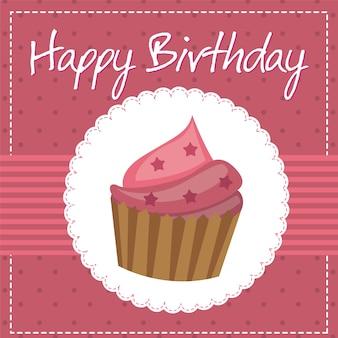 Cartão de aniversário rosa com ilustração em vetor bolo cup