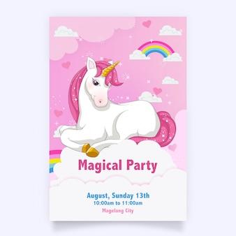 Cartão de aniversário rosa com um unicórnio branco