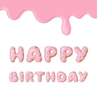 Cartão de aniversário rosa fofo.