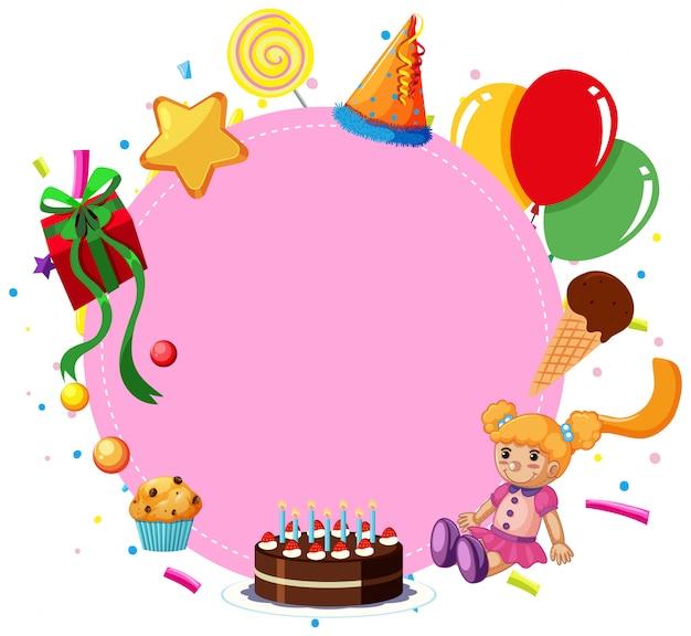 Cartão de aniversário rosa