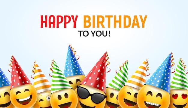 Cartão de aniversário sorriso feliz. fundo de aniversário de vetor design de personagens coloridos 3d.