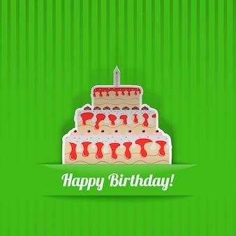 Cartão de aniversário verde com bolo, cortado de papel