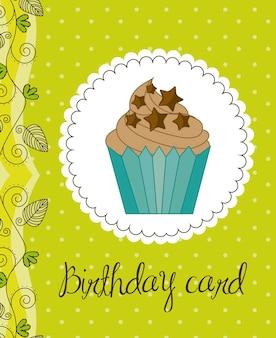 Cartão de aniversário verde com ilustração em vetor bolo cup