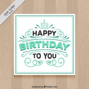 Cartão de aniversário verde e branco