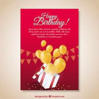 Cartão de aniversário vermelho com balões de presente e amarelo