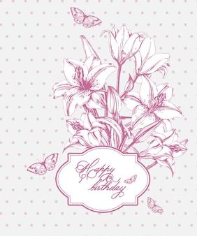 Cartão de aniversário vintage com lírios florescendo e borboletas.