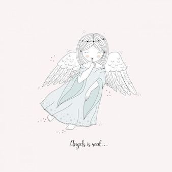 Cartão de anjo bonito mão desenhada