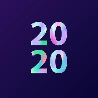 Cartão de ano novo 2020 em estilo minimalista. cartão com efeito holográfico.