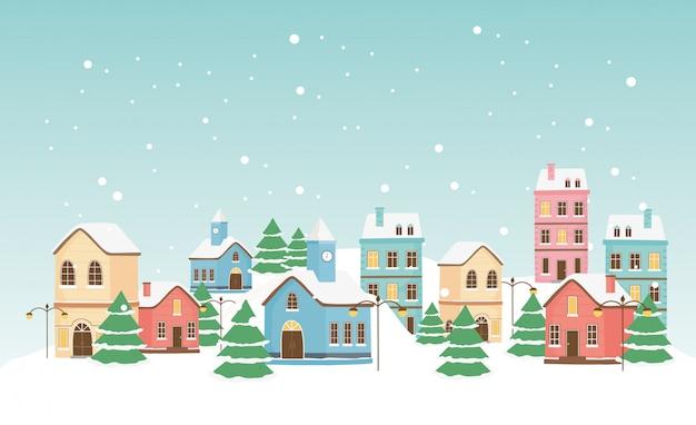 Cartão de ano novo casas cidade árvores lâmpada poste neve