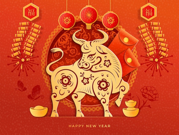 Cartão de ano novo chinês com tradução de texto fortuna e boa sorte. boi de ouro cny
