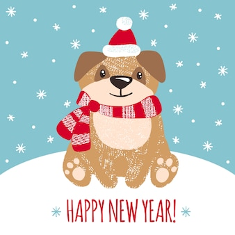 Cartão de ano novo com cachorro fofo.