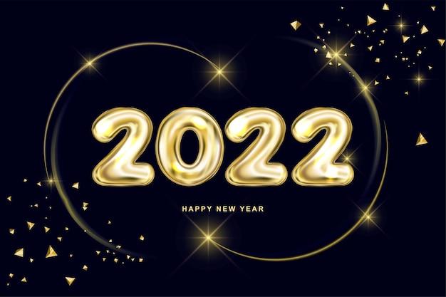 Cartão de ano novo com dígitos dourados e anel de ouro com pó de fada design adequado para 2022 ano novo