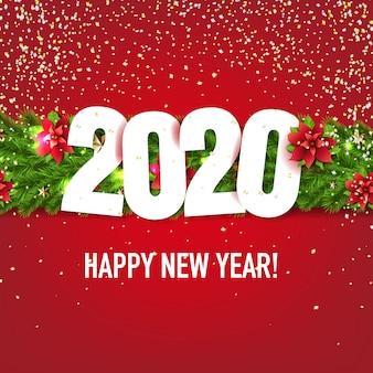 Cartão de ano novo com guirlandas de árvore de abeto de natal