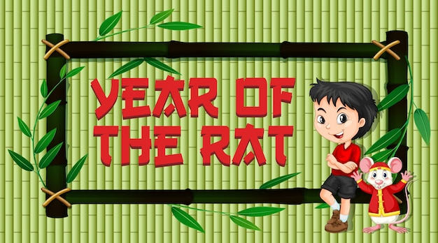 Cartão de ano novo com menino chinês e rato