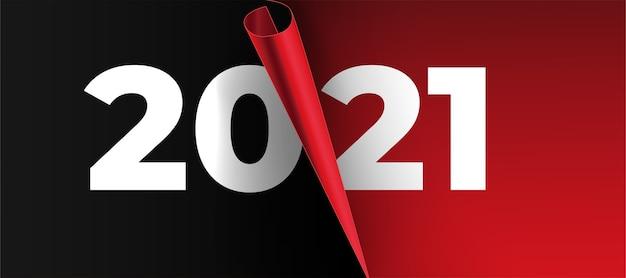 Cartão de ano novo de 2021 com design realista de página em papel