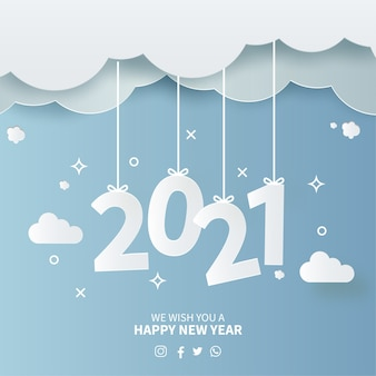 Cartão de ano novo de 2021 com fundo de céu em papel